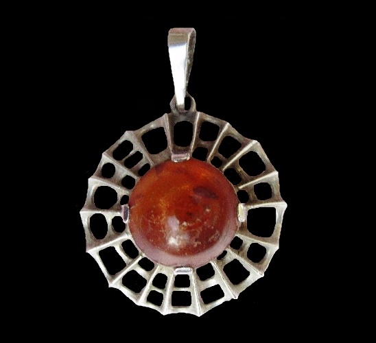 Amber sterling silver pendant. 1950s