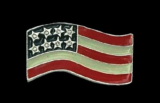 American flag patriotic brooch pin. Gold tone, enamel, rhinestone