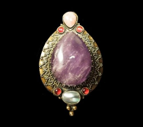 Amethyst mother-of-pearl agathe sterling silver pendant