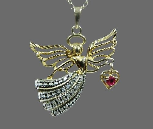 Angel Pendant Necklace. Gold, sterling silver, spinel