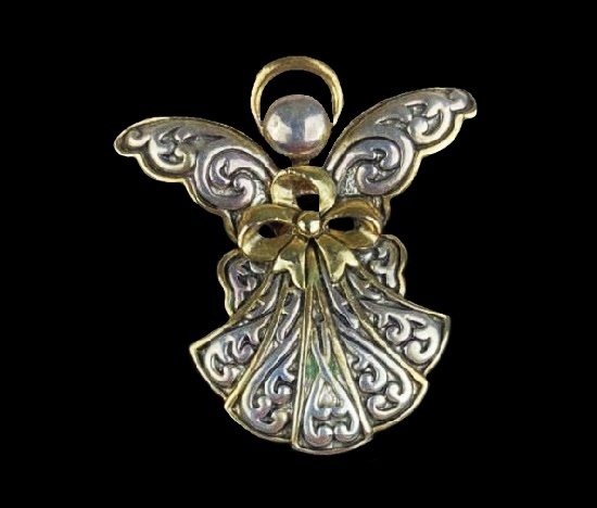 Angel pin pendant of gold and silver tone