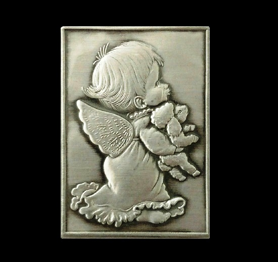 Angel with Lamb vintage brooch. Aluminum