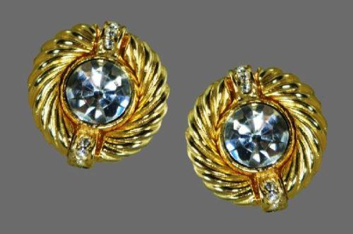 Art deco gold tone rhinestone clip earrings