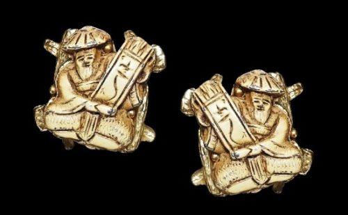 Asian Gods of Fortune clip on earrings. Metal alloy, enamel
