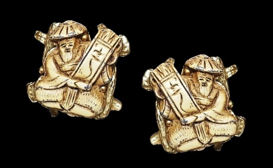 Asian Gods of Fortune clip on earrings. Metal alloy, enamel