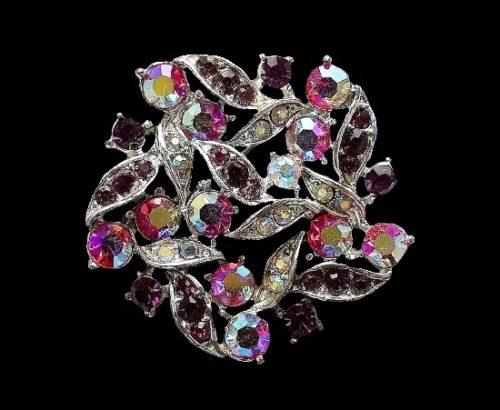 Aurora borealis crystal floral design brooch. 4 cm. 1970s