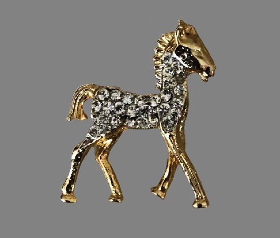 Baby Horse vintage brooch. Metal alloy, gold plated, rhinestones. 1980s