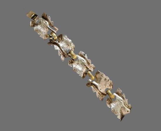 Bangle bracelet of gold and silver tone, vintage