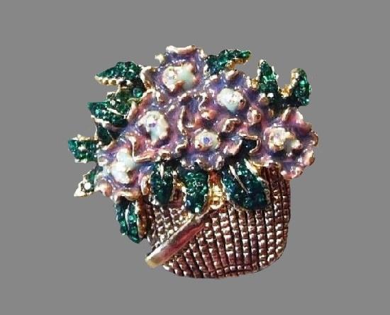 Basket of flowers pin. Gold tone metal, enamel