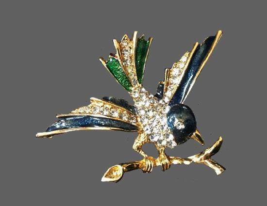 Bird brooch. Gold tone, pave crystals, enamel