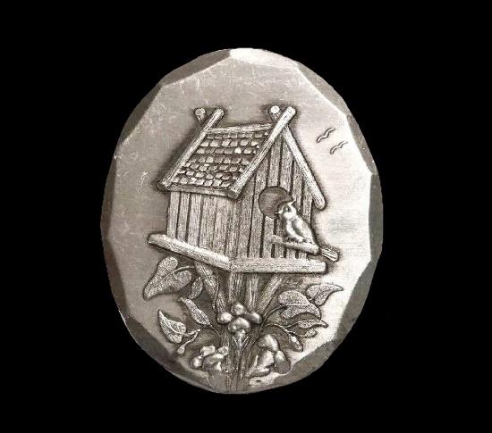 Birdhouse aluminium vintage pendant brooch