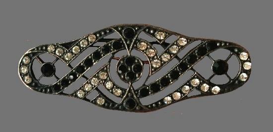 Black and white rhinestone silver tone vintage brooch