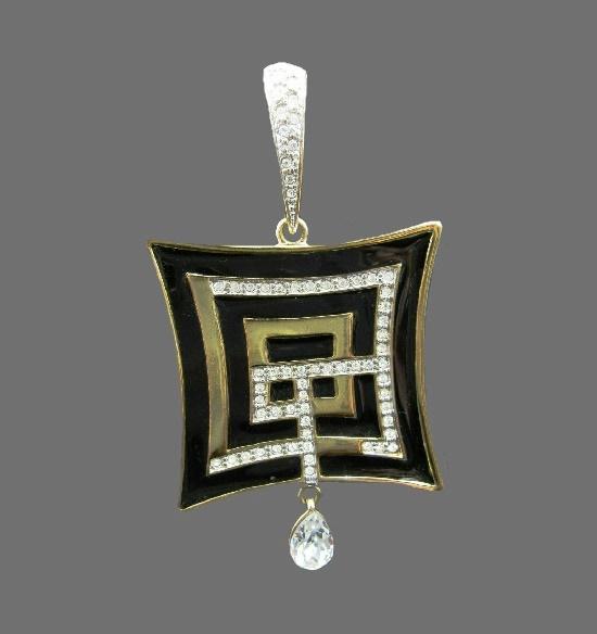 Black enamel gold tone crystal rhinestone pendant