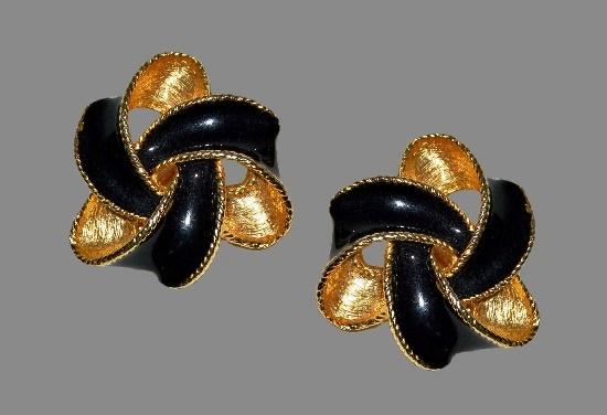 Black enamel gold tone vintage earrings