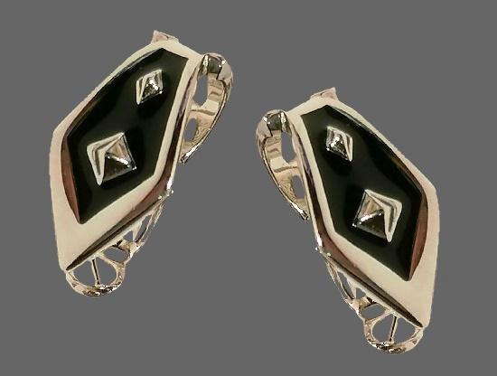 Black enamel silver tone metal alloy earrings. 1980s