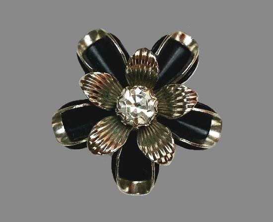 Black flower brooch. Silver tone metal, enamel, crystal