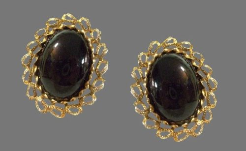 Black glass cabochon oval shaped gold plated ornate frame clip on earrings