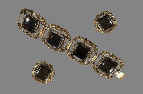 Black onyx silver tone bracelet and clip on earrings