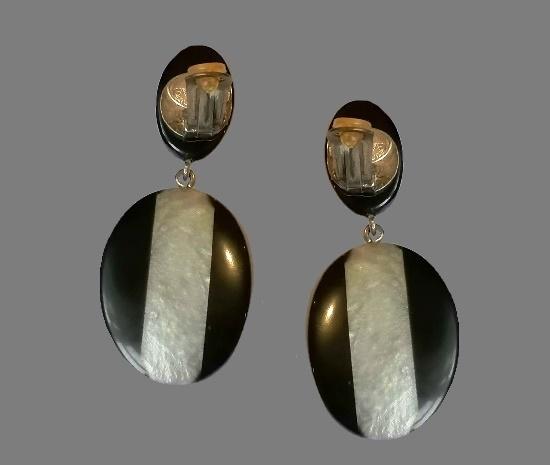 Black plastic mother of pearl drop earrings. 1980s