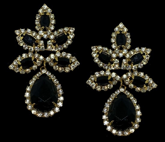 Black rhinestone clear crystal dangle earrings