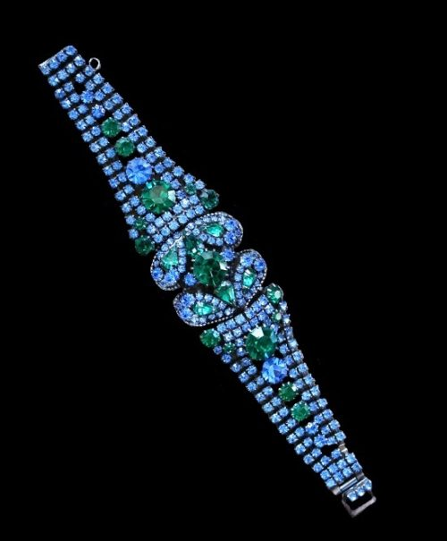 Blue and green rhinestone silver tone metal bracelet