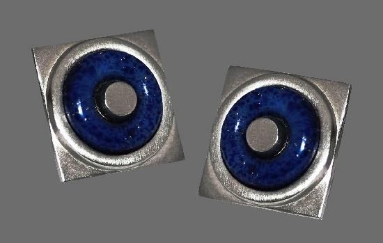Blue art glass silver tone earrings. 1960s