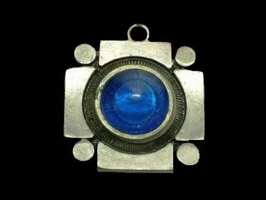 Blue glass cabochon pewter 1950s pendant