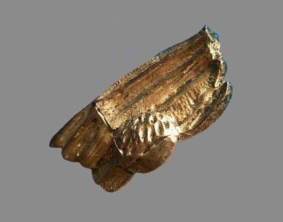 Bronze tone textured metal brooch