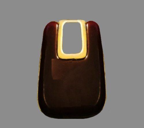 Brown lucite gold tone pendant