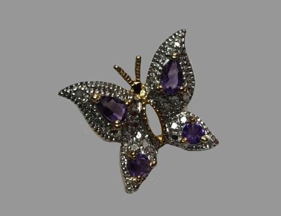 Butterfly brooch. Sterling silver, amethyst