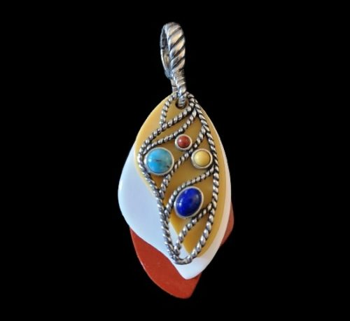 Butterfly wing pendant. Sterling silver, multicolor gemstones