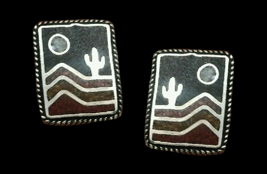 Cactus moon sterling silver mosaic inlay earrings