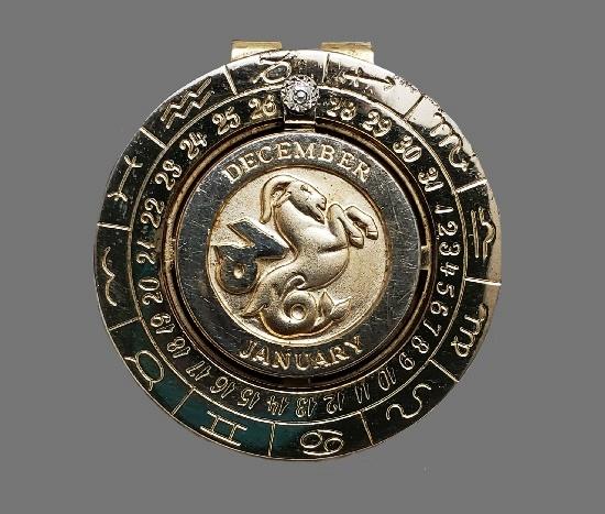 Capricorn Zodiac sign money clip pendant. Highly detailed vintage piece