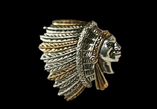 Chef Indian Head pendant of silver and gold tone