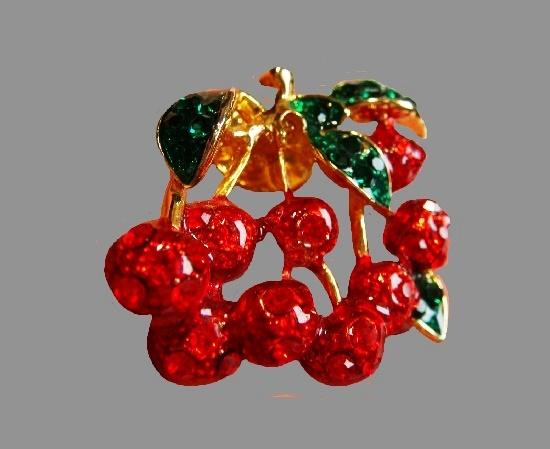 Cherry lapel pin. Green, red enamel, gold tone metal alloy