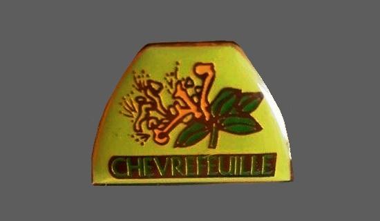 Chevrefeuille vintage enameled pin. 1990s