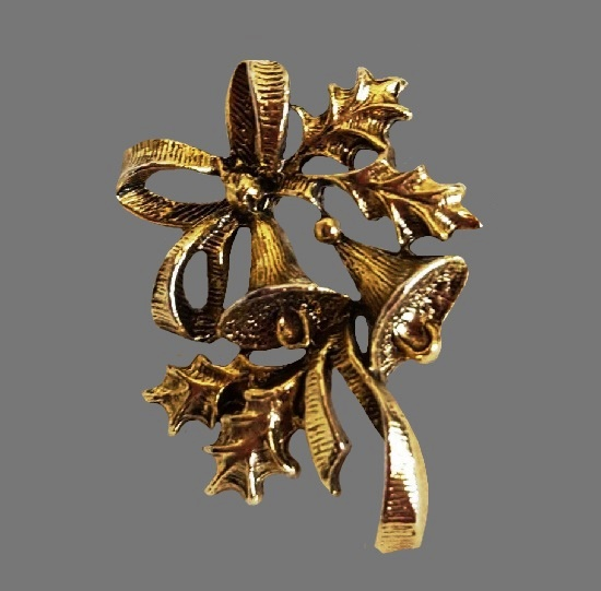 Christmas Bells lapel pin. Gold tone textured metal