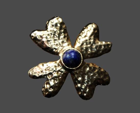 Clover vintage brooch. Gold tone metal, blue stone lazurite. 1990s