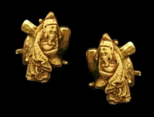 Collectable Gods of Fortune gold plated clip on earrings