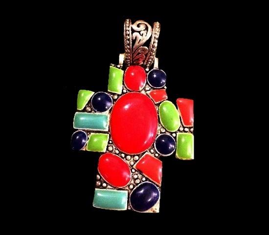 Colorful cross pendant. Silver tone, enamel