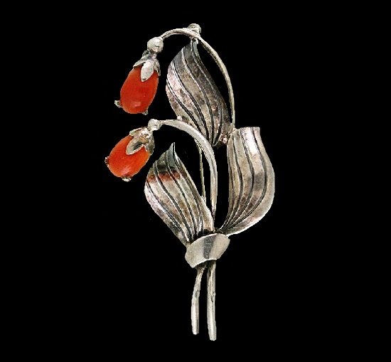 Coral flower sterling silver brooch. 1930s