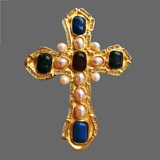 Cross brooch pendant. Gold tone, art glass, faux pearls. 9 cm. 1990s