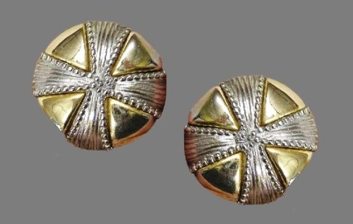 Cross design round shaped gold and silver tone clip on earrings