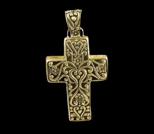 Cross filigree pattern sterling silver pendant