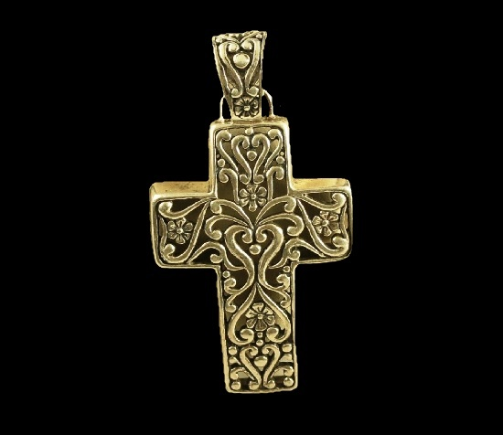 Cross filigree pattern sterling silver pendant