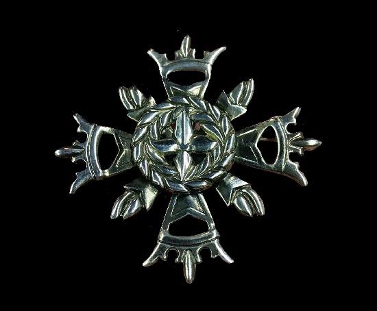 Crown heraldy design sterling silver vintage brooch