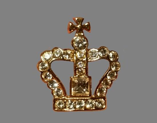 Crown pin. Gold tone, pave rhinestones