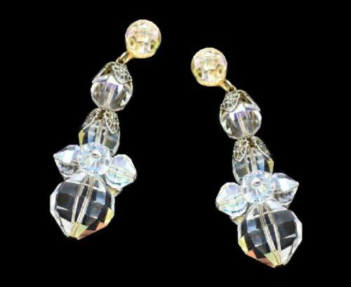 Crystal bead drop dangle earrings. Gold tone metal, Aurora borealis crystals. 1960s