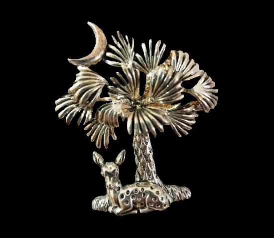 Deer Palm tree brooch pendant