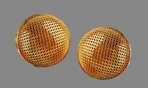 Domed mesh gold tone clip on earrings. 1980s